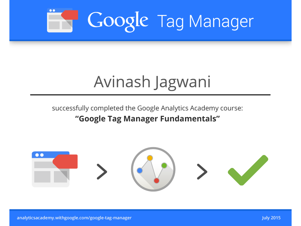 Avinash tag manager certificate